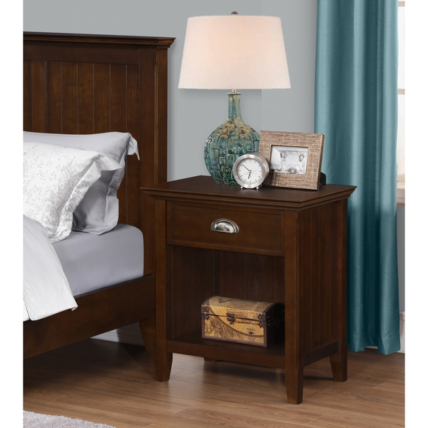 Wyndenhall Normandy Bedside Table in Tobcco Brown
