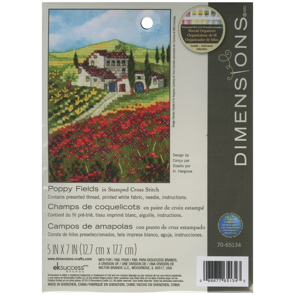 Poppy Fields Mini Stamped Cross Stitch Kit5inX7in