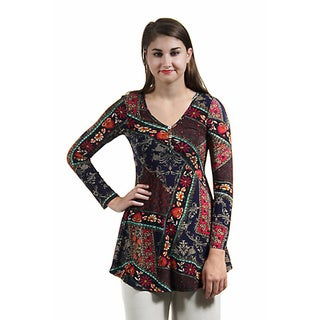 24/7 Comfort Apparel Women's Abstract Quilt Floral Printed Tunic