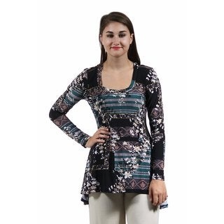 24/7 Comfort Apparel Women's Autumn Floral Printed Tunic