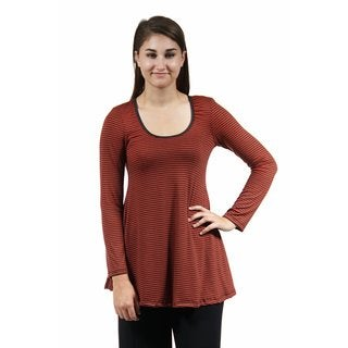 24/7 Comfort Apparel Women's Red Striped Printed Tunic
