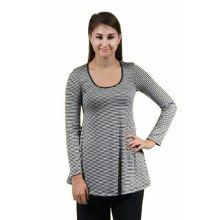 24/7 Comfort Apparel Women's Grey Striped Printed Tunic