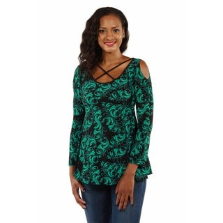 24/7 Comfort Apparel Women's Abstract Printed Split-Sleeve Tunic