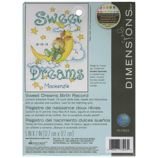 Sweet Dreams Birth Record Counted Cross Stitch Kit5inX7in 14 Count 16260046