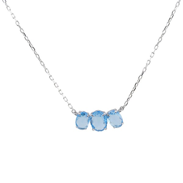 14k White Gold 3-stone Oval Faceted Blue Topaz Necklace