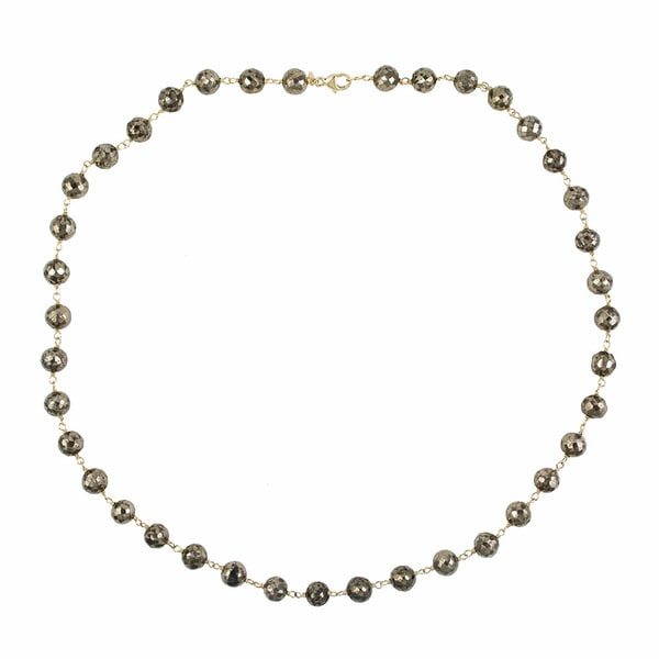 14k Yellow Gold Pyrite Necklace
