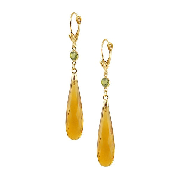 14k Yellow Gold Faceted Orange Quartz Peridot Drop Earrings