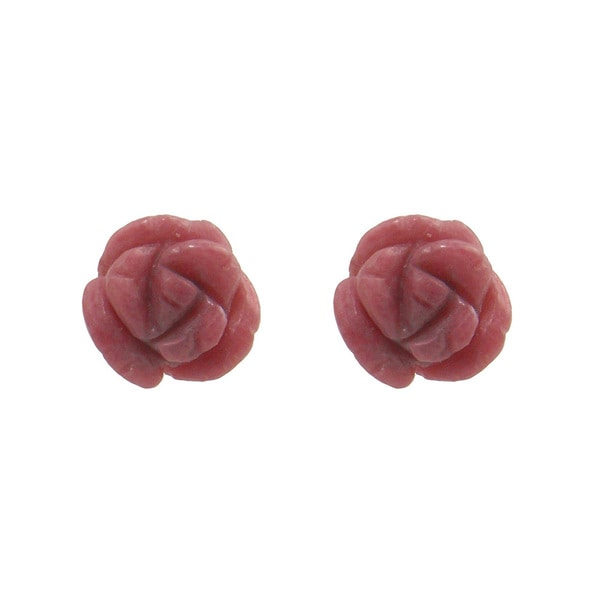 14k Yellow Gold Rhodonite Flower Stud Earrings