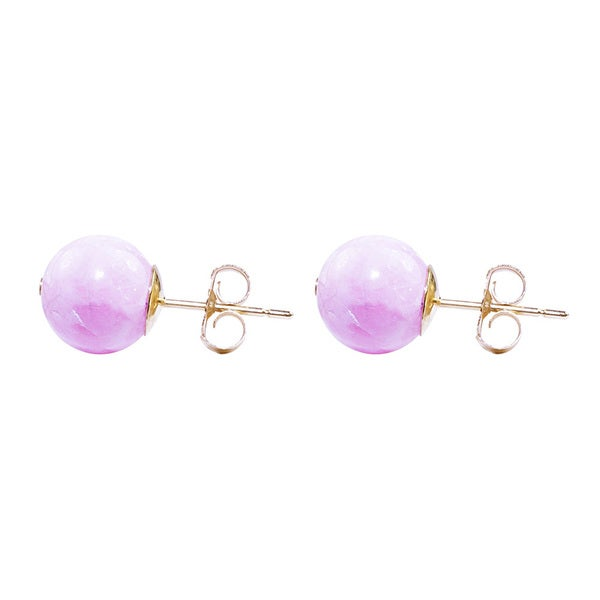14k Yellow Gold Rhodochrosite 8mm Stud Earrings
