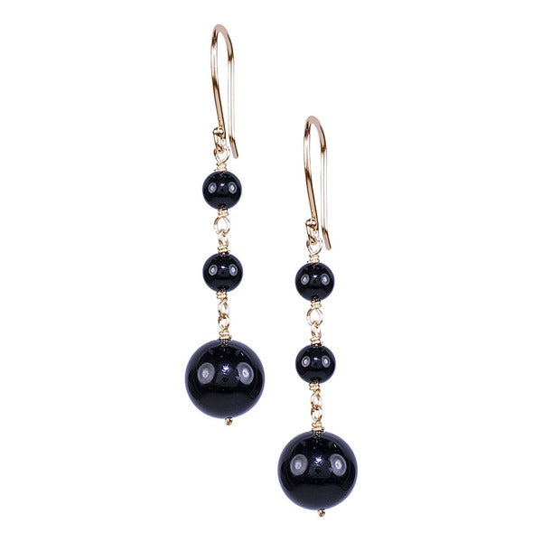 14k Yellow Gold Black Onyx Hook Earrings