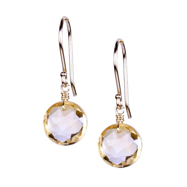 14k Yellow Gold Citrine Coin Hook Earrings
