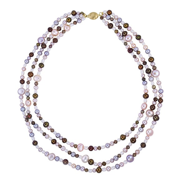 14k Yellow Gold Multi-pearl Layered Necklace 16260149