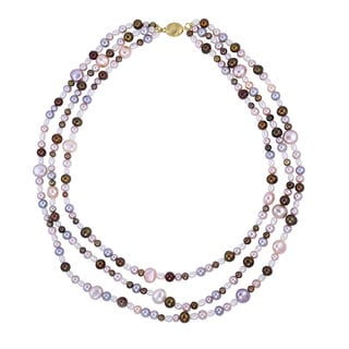 14k Yellow Gold Multi-pearl Layered Necklace