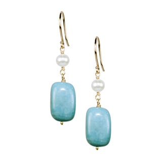 14k Yellow Gold White Pearl Turquoise Nugget Hook Earrings