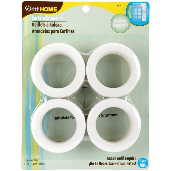 Curtain Grommets 19/16in Inner Diameter Plastic 8/PkgWhite