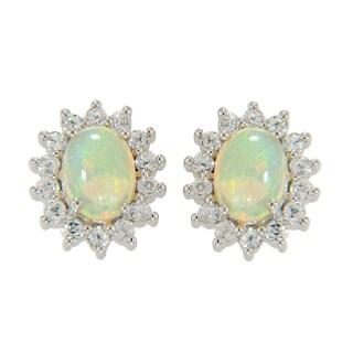Sterling Silver Ethiopian Opal and White Zircon Stud Earrings