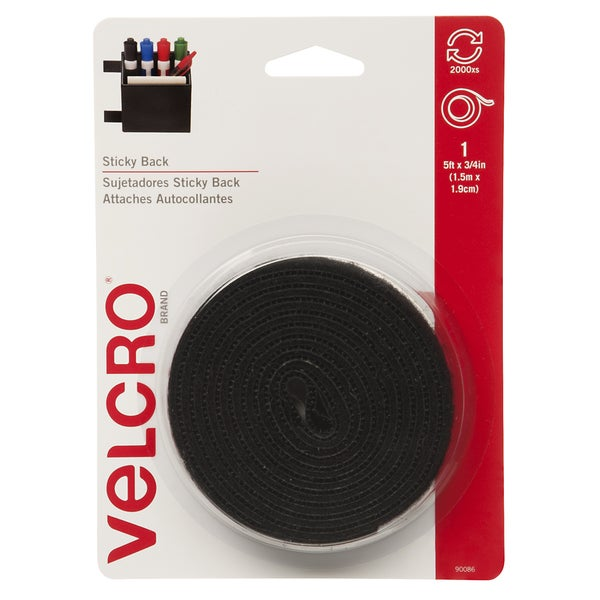 VELCRO(R) Brand STICKY BACK Tape 3/4inX5'Black