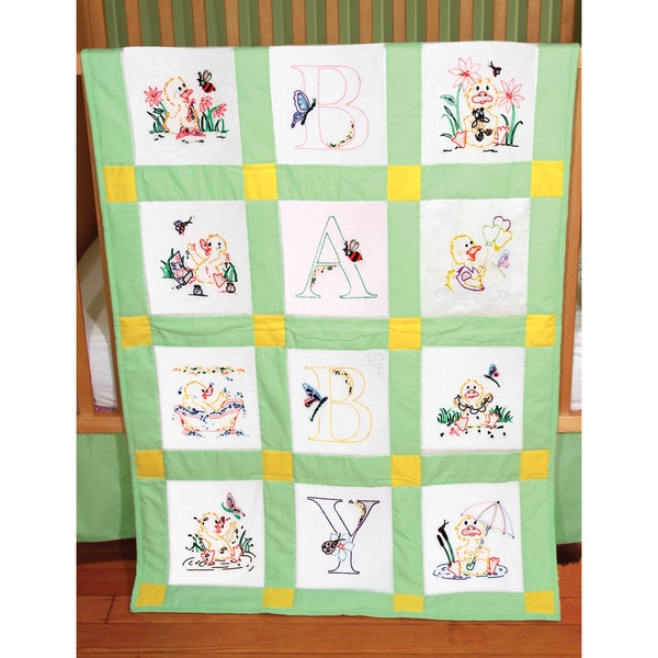 Stamped Baby Quilt Blocks 9inX9in 12/PkgDuck Baby
