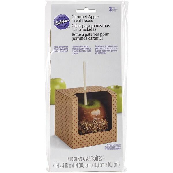 Caramel Apple Treat Boxes 4inX4inX4in 3/Pkg