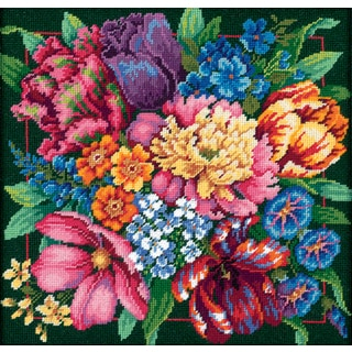 Floral Splendor Needlepoint Kit14inX14in Stitched In Yarn