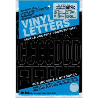 Permanent Adhesive Vinyl Letters & Numbers 3in 160/PkgBlack