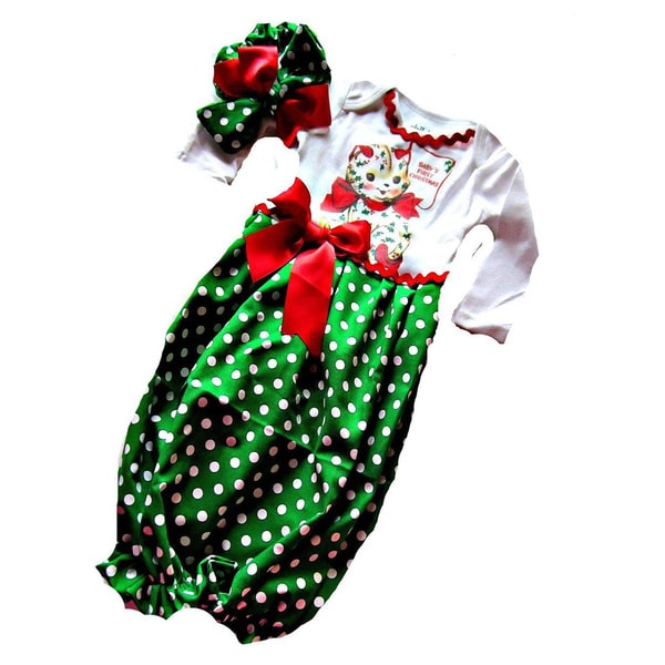 1st Christmas with Kitty Baby Girl Christmas Infant Layette Set