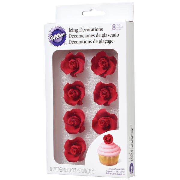 Medium Red Icing Roses (8 per package)