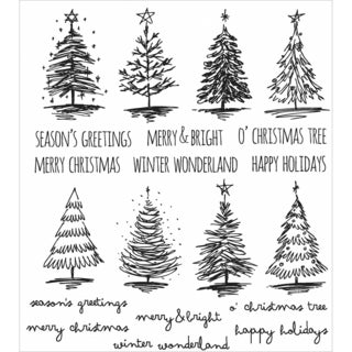Tim Holtz Cling Rubber Stamp Set 7inX8.5inScribbly Christmas