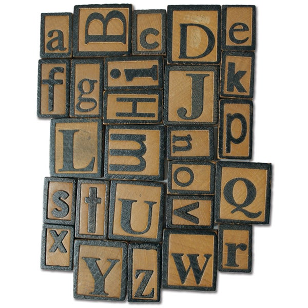 Vintage Collection Wood Letterpress Blocks 5mm 26/PkgAlphabet