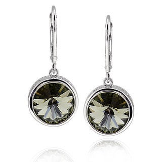 Sterling Silver Round Genuine Swarovski Elements Crystal Earrings (China)