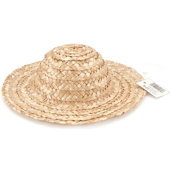 Round Top Straw Hat 14inNatural