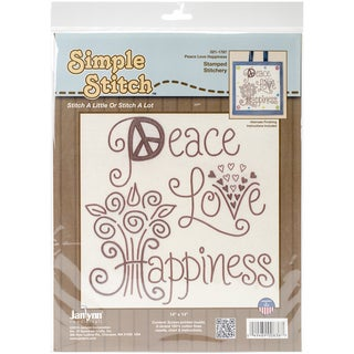 Simple Stitch Peace Love Happiness Stamped Embroidery Kit12inX12in Stitched In Floss