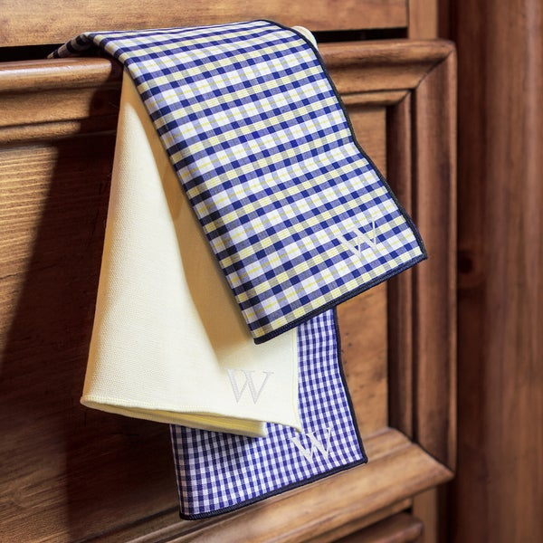 Yellow/ Navy Gingham Handkerchief Set