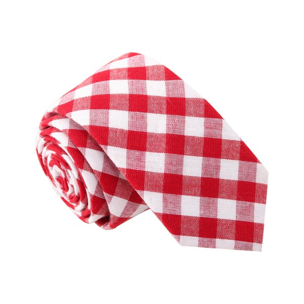 Skinny Tie Madness Men's 'Gangnam Style' Gingham Red Plaid Skinny Tie