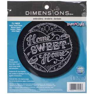 LearnACraft Home Sweet Home Stamped Embroidery Kit6in Round Stitched In Thread