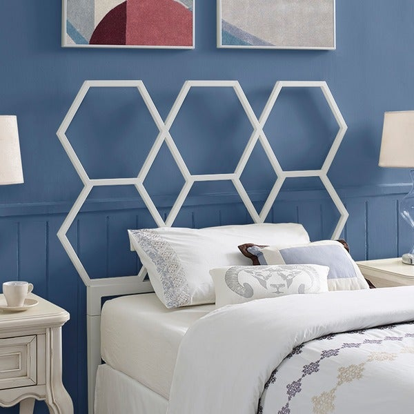 Honeycomb Twin Size Headboard - White