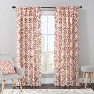 VCNY Concord Flocked Rod Pocket Curtain Panel Pair