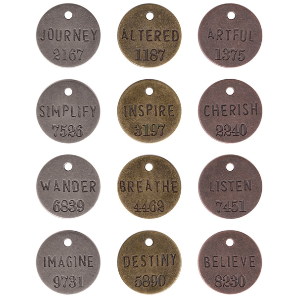 IdeaOlogy Philosophy Tags 1in 12/PkgAntique Nickel, Brass & Copper