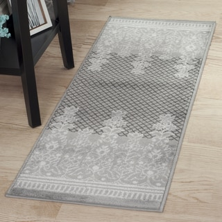 "Windsor Home Royal Garden Area Rug - Grey & White - 1'8""x5'"