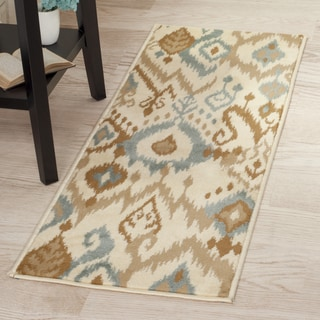 "Windsor Home Ikat Area Rug - Cream & Blue - 1'8""x5'"