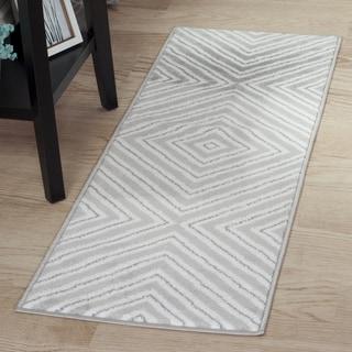 "Windsor Home Kaleidoscope Rug - Grey & White - 1'8""x5'"