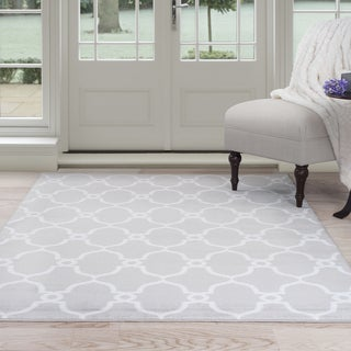 Windsor Home Lattice Area Rug - Grey & Ivory 8' x 10'