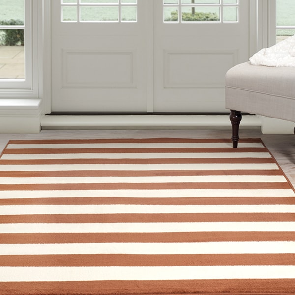 Windsor Home Dark Amber Stripe Area Rug - Amber & Tan 5' x 7'7""