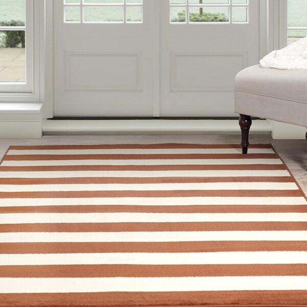 Windsor Home Dark Amber Stripe Area Rug - Amber & Tan 4' x 6'