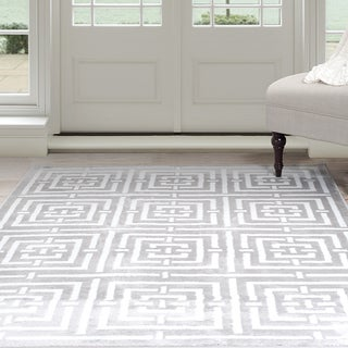 "Windsor Home Athens Area Rug - Grey & White 5' x 7'7"""