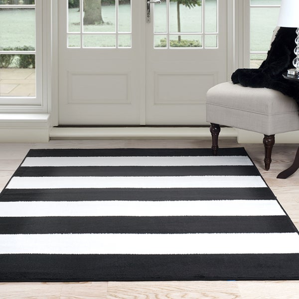 "Windsor Home Breton Stripe Area Rug - Black & White 3'3"" x 5'"