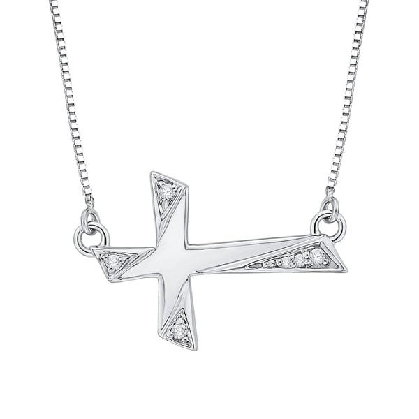 10k White Gold Diamond Accent Cross Pendant