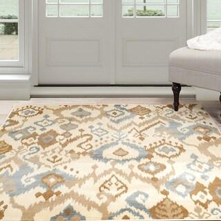 "Windsor Home Ikat Area Rug - Cream & Blue 5' x 7'7"""