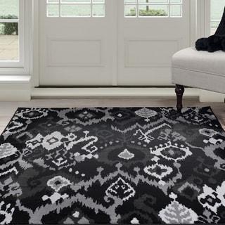 "Windsor Home Ikat Area Rug - Black & Grey 5'x7'7"""