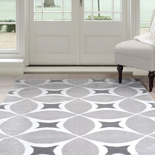 Windsor Home Geometric Area Rug - Grey & White 4'x6'